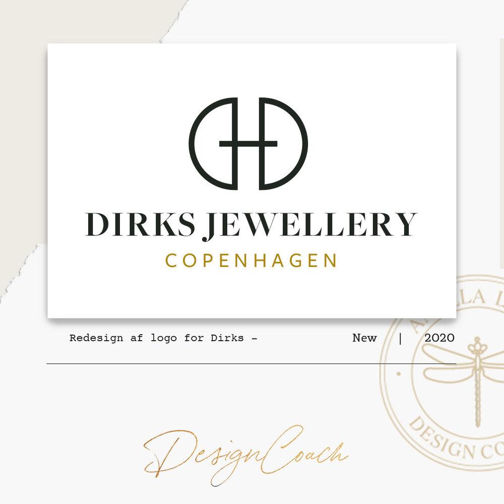 Eksempel på grafisk design udarbejdet af designcoach-redesign af logo for Dirks Jewellery