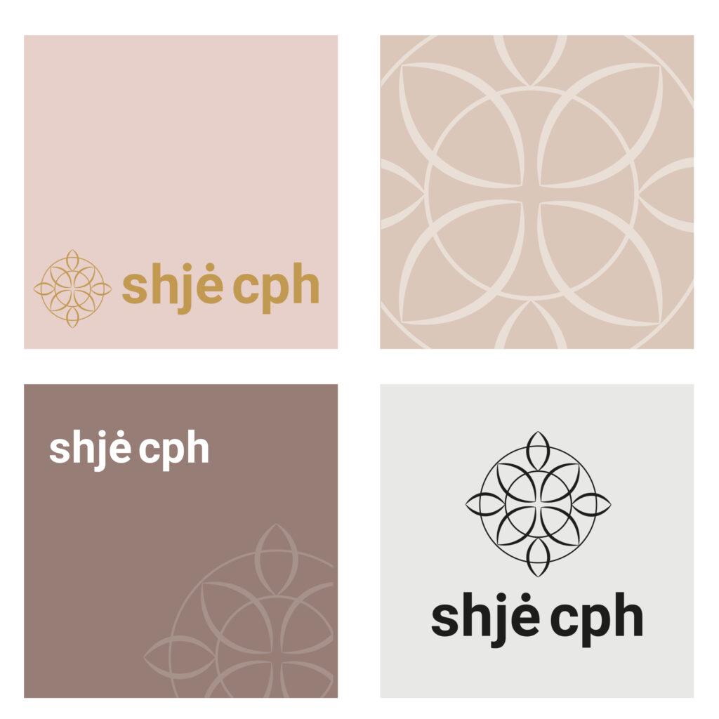Grafiske design eksempler af ny brand identitet for Shjé CPH